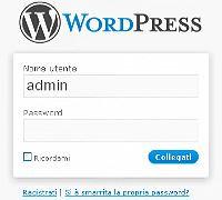 Pannello accesso gestione WordPress