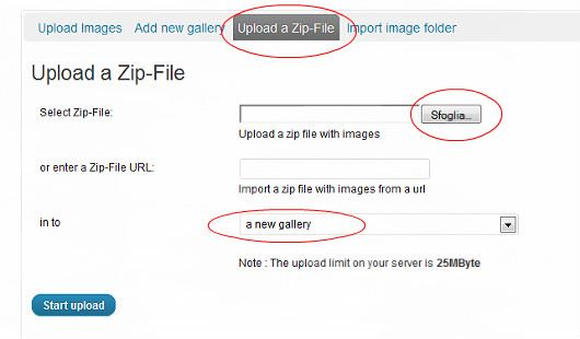 upload immagini wordpress